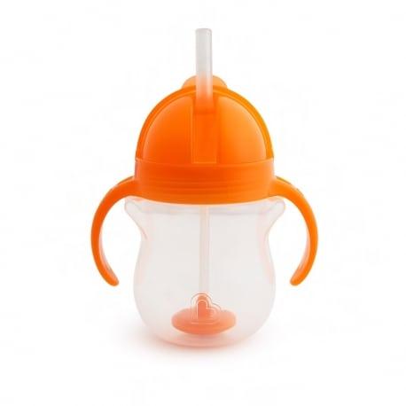 MUNCHKIN Παιδικό Χρωματιστό Κύπελλο Με Ενσωματωμένο Καλαμάκι 6m+ Orange 207ml.
