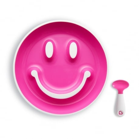 MUNCHKIN Smiley Plate Pink