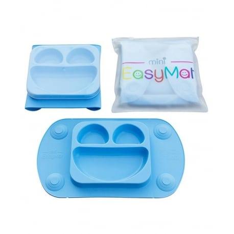 EASY MAT Mini Πιατο-Σουπλα σιλικονης με βεντουζες και καπακι Μπλε
