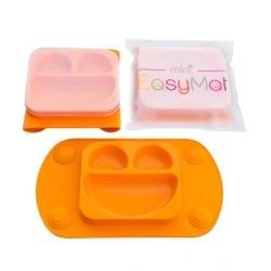 EASY MAT Mini Πιατο-Σουπλα σιλικονης με βεντουζες και καπακι Πορτοκαλί