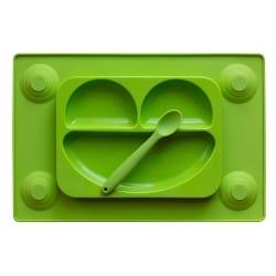 EASY MAT Πιάτο/Σουπλά Σιλικόνης με Βεντούζες και Κουτάλι Πράσινο