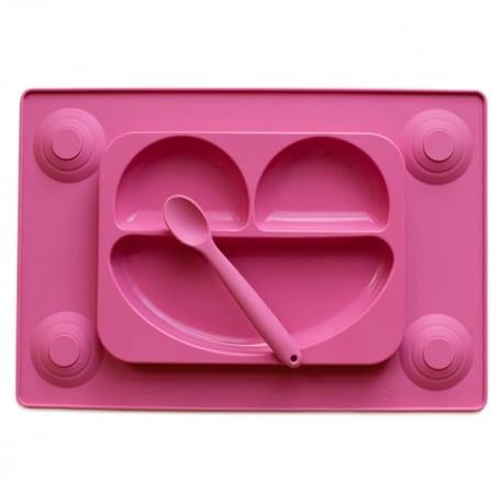EASY MAT Πιάτο/Σουπλά Σιλικόνης με Βεντούζες και Κουτάλι Ροζ