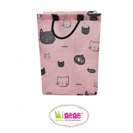 MINENE Pink Cat Καλάθι Απλύτων