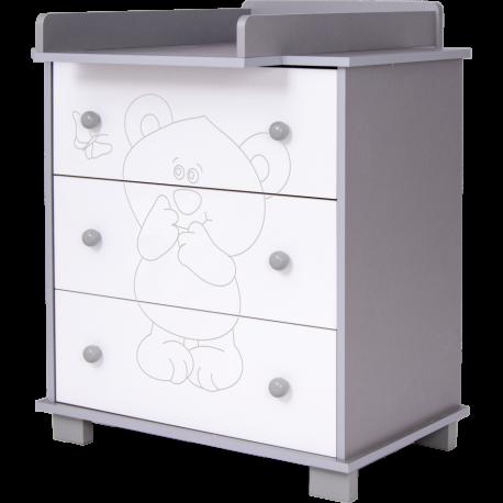 DREWEX Συρταριέρα - Αλλαξιέρα Bear and Butterfly Ασημί - Λευκό