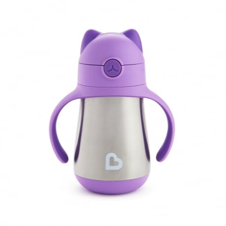 MUNCHKIN Κύπελο Cool Cat - Stainless Straw Cup 18m Purple