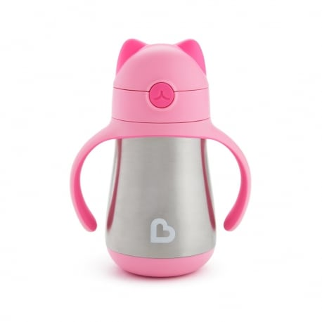 MUNCHKIN Κύπελο Cool Cat - Stainless Straw Cup 18m Pink