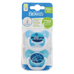 DR BROWN'S  Πιπίλα Πεταλούδα Prevent Ορθο/κη Μπλε Επίπεδο 1 0-6 μηνών (2 τεμ.)