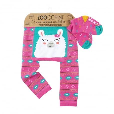 ZOOCCHINI Grip+Easy Crawler Pants & Socks Set – Laney the Llama