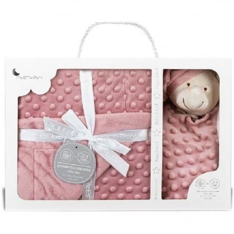 INTERBABY Set Extrafort Κουβερτάκι και Βελούδινο Πανάκι Παρηγοριάς Bear Dark Pink