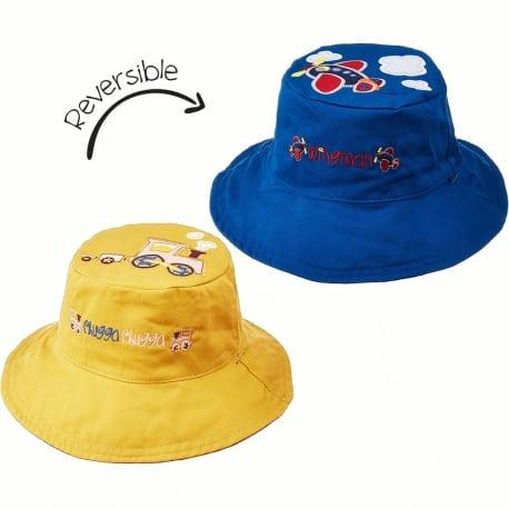 FLAPJACKKIDS Καπέλο Διπλής Όψης UPF 50+ – Τρενάκι (Cotton)