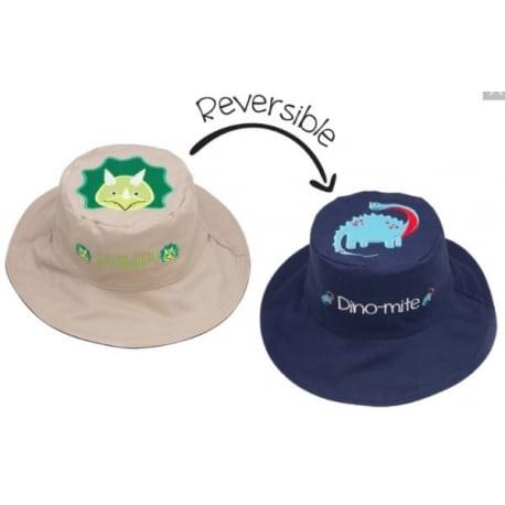 FLAPJACKKIDS Καπέλο Διπλής Όψης UPF 50+ – Δεινόσαυρος (Cotton)