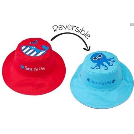 FLAPJACKKIDS Καπέλο Διπλής Όψης UPF 50+ – Φάλαινα (Cotton)