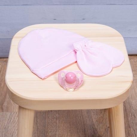 ABO Σετ γάντι-σκουφάκι ροζ