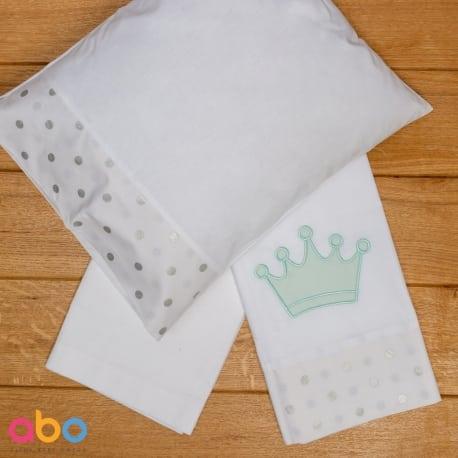 ABO Σετ σεντόνια καλαθούνας-λίκνου 3τμχ queens crown Μέντα