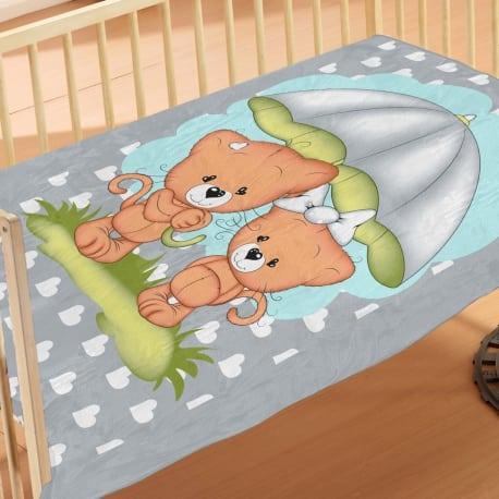 DIM Collection Κουβέρτα Κούνιας 110x140 Rainy Bears Pink